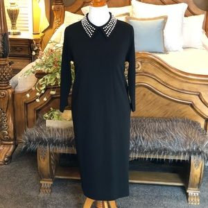 Eloquii Black Sheath Dress with Pearl Collar Sz 16